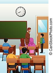 Students and Teacher in the Classroom Illustration