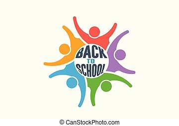Students group back to school. Vector Logo