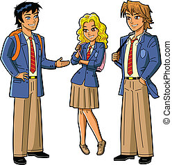 Three Anime Style Students in School Uniforms