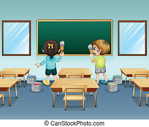 Illustration of students painting their classroom