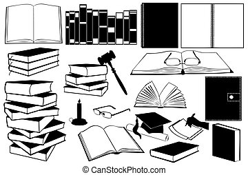 Illustration of different kinds of books and accessories