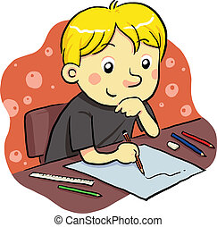 a boy studying for his future