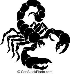 An illustration of a stylised black scorpion perhaps a scorpion tattoo