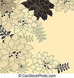 Stylish floral beige background with contour flowers