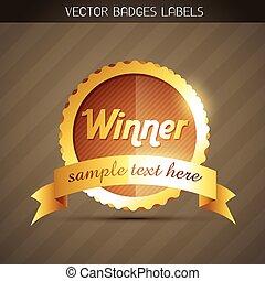 stylish golden winner label design