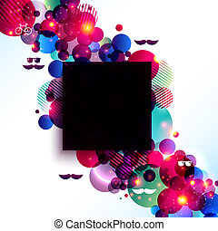 Stylish hipster poster on a contrast shiny background. Can be used as a poster for party or fashion event. Vector image.