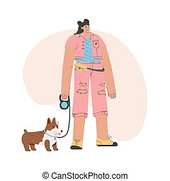 Stylish woman stands with dog on leash
