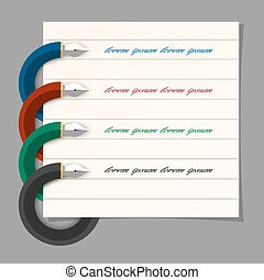 Stylized colored writing pen design for infographics, step presentation, web design. Vector EPS10