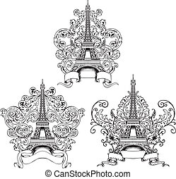 Stylized Eiffel Tower. Set of black and white vector illustrations.