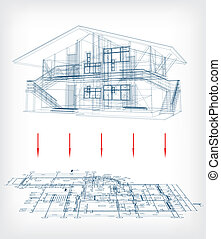 A stylized house model with floor plan. Vector illustration