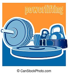 stylized illustration on the theme of strong men, weightlifting, powerlifting, sports. set for weightlifting. symbol