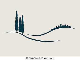 stylized Illustration showing San Gimignano in Tuscany Italy