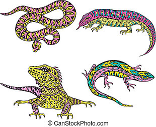 Stylized motley snake and lizards. Set of color vector illustrations.
