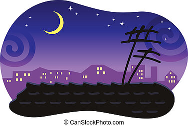 Stylized night cityscape with a tiled roof and the moon. Vector background.