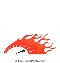 stylized speedometer on fire icon