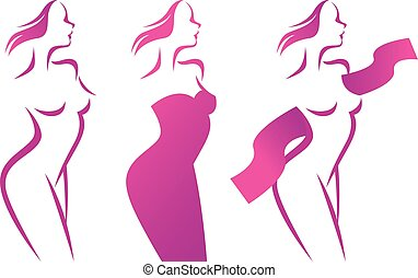 Stylized vector silhouette of beautiful woman in profile