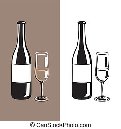 wine glass and bottle of champagne