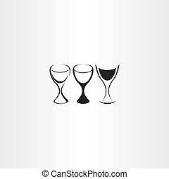 stylized wine glass vector set design