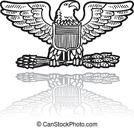 Doodle style military rank insignia for US Army including Eagle with sheaf of wheat