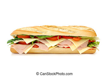 Large sub sandwich isolated on white