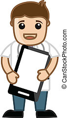 Drawing Art of Cartoon Doctor Character Advertising with Mobile for Health Tips Alerts Subscription Vector Illustration
