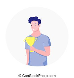 Success concept. Young man holding winning trophy cup. Happy man received an award for achievements. Trendy flat style. Vector illustration.