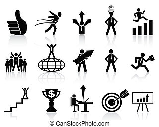 successful business icons set