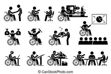 Successful disabled person having a good career and work stick figures icons.