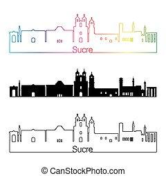 Sucre skyline linear style with rainbow