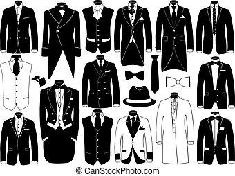 Suits illustration set isolated on white