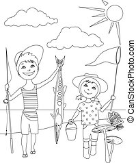 Summer activities for kids coloring