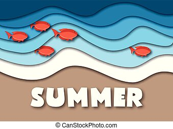 Summer banner template in A4 format, with sea or ocean waves, tropical sand beach, red fish and text