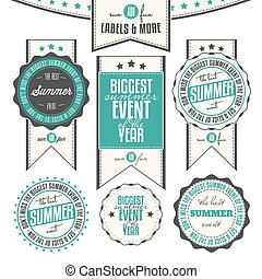Collection of summer events related vintage labels