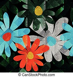summer flowers on dark background seamless pattern