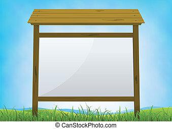 Illustration of a cartoon horizontal blank wood billboard sign on a summer or spring season background