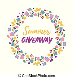 Summer give away banner. Vector frame with flowers and gifts icons on a white background. Cute border with simple element for kids and DIY project.