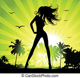 Summer holiday, beautiful girl silhouette on sunset