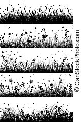 Summer meadow background. EPS 10 vector illustration without transparency and meshes.