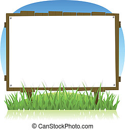 Illustration of a cartoon horizontal summer or spring wooden billboard with blank sign for holidays vacations and environment advertisement