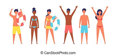 Summer people of various races are standing.