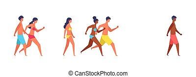 Summer people of various races are walking.