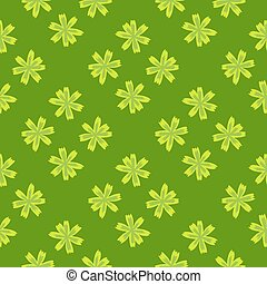 Summer seamless pattern with light flowers meadow ornament. Green background. Modern print.