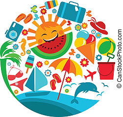 summer vacation; template of summer icons, illustration