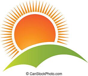 Sun and hill mountain logo vector