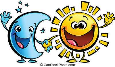 Shining yellow smiling sun and blue moon cartoon characters a happy day night concept image