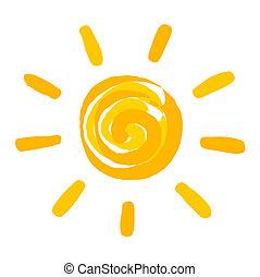 Sun painted. Vector illustration