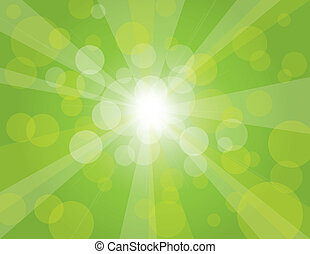 Sun Rays on Green Spring Bokeh Circles Background Illustration