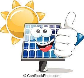 Sun solar panel thumb up