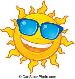 Vector cartoon sun character wearing sunglasses. Great for summer designs.
