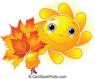 Cartoon Character of Cute Sun giving autumn leaves